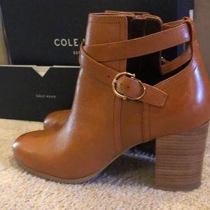 Cole Haan acorn leather bootie
